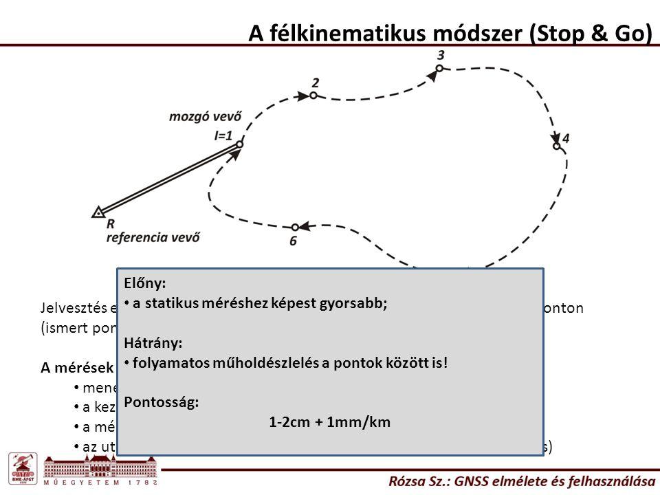 A félkinematikus módszer (Stop & Go) Jelvesztés esetén újrainicializálás: ismeretlen ponton, vagy az utolsó mért ponton (ismert ponton).
