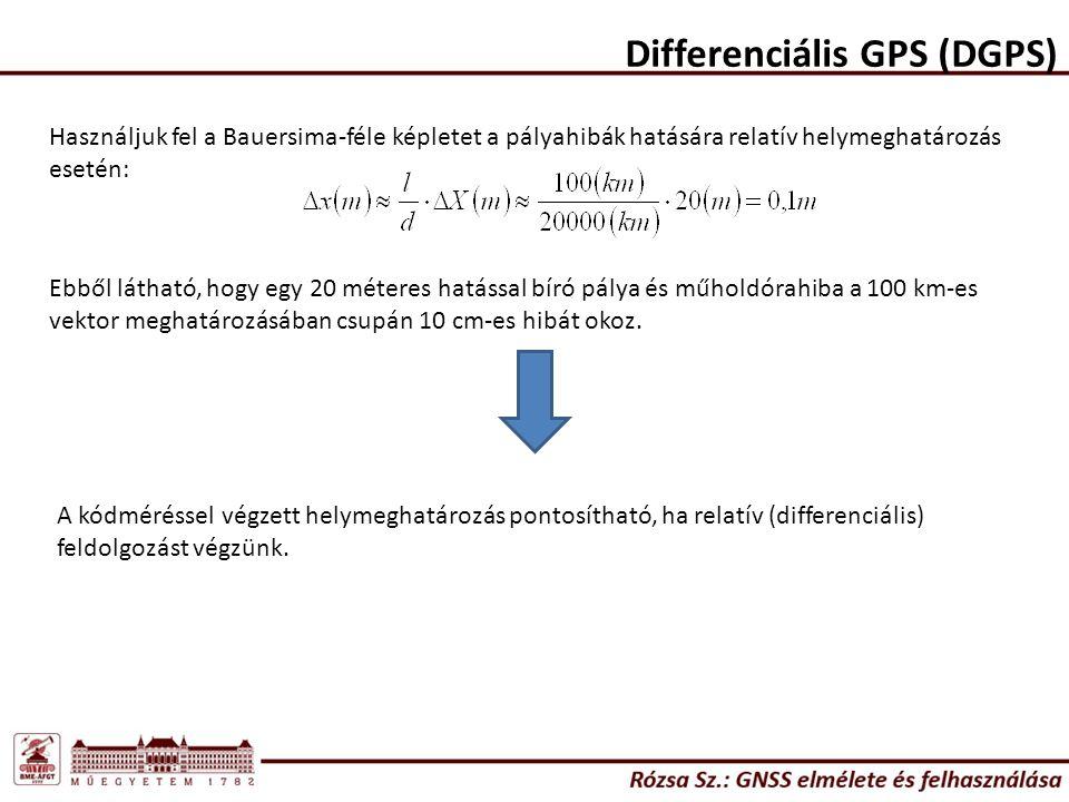 Differenciális GPS (DGPS) Használjuk fel a Bauersima-féle képletet a pályahibák hatására relatív helymeghatározás esetén: Ebből látható, hogy egy 20 méteres hatással bíró pálya és műholdórahiba a 100 km-es vektor meghatározásában csupán 10 cm-es hibát okoz.