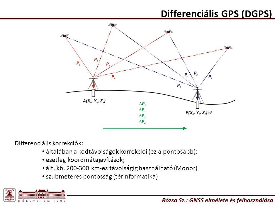 Differenciális GPS (DGPS) Differenciális korrekciók: általában a kódtávolságok korrekciói (ez a pontosabb); esetleg koordinátajavítások; ált.