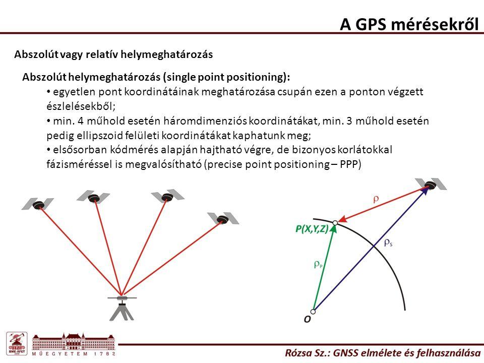 A GPS mérésekről Abszolút vagy relatív helymeghatározás Abszolút helymeghatározás (single point positioning): egyetlen pont koordinátáinak meghatározása csupán ezen a ponton végzett észlelésekből; min.