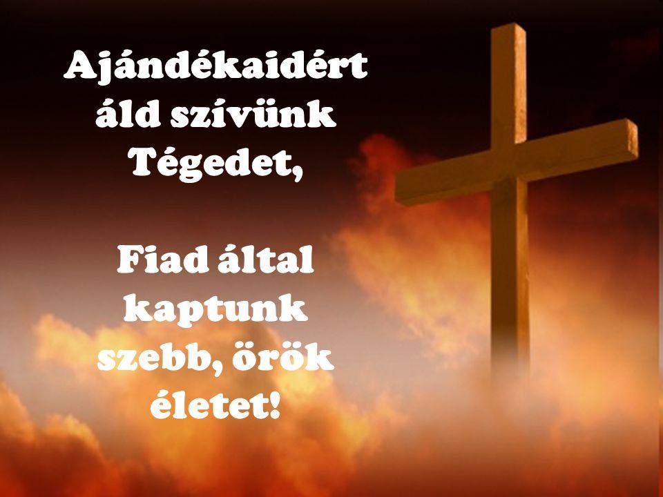 Ajándékaidért áld szívünk Tégedet, Fiad által kaptunk szebb, örök életet!