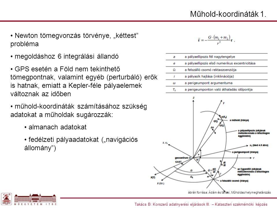 Takács B: Korszerű adatnyerési eljárások III. – Kataszteri szakmérnöki képzés Műhold-koordináták 1.