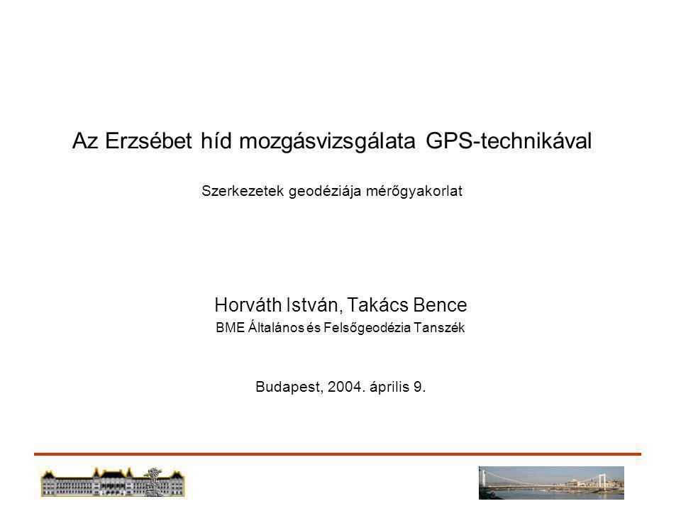 Az Erzsébet híd mozgásvizsgálata GPS-technikával Szerkezetek geodéziája mérőgyakorlat Horváth István, Takács Bence BME Általános és Felsőgeodézia Tanszék Budapest, 2004.