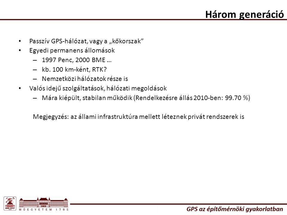 """Három generáció Passzív GPS-hálózat, vagy a """"kőkorszak"""" Egyedi permanens állomások – 1997 Penc, 2000 BME … – kb. 100 km-ként, RTK? – Nemzetközi hálóza"""
