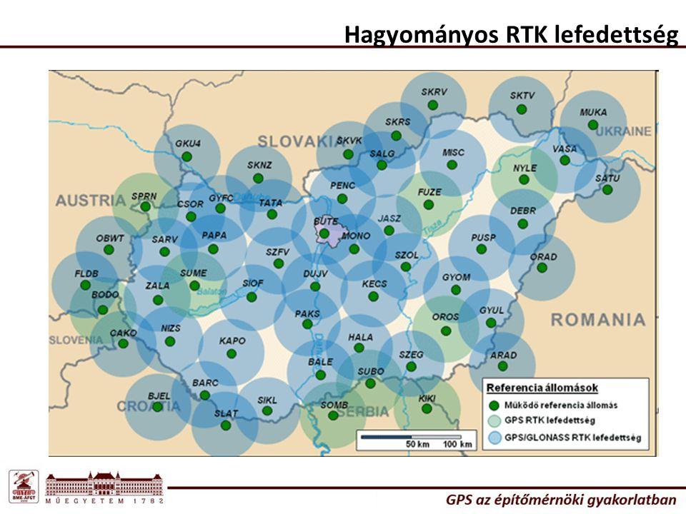 Hagyományos RTK lefedettség