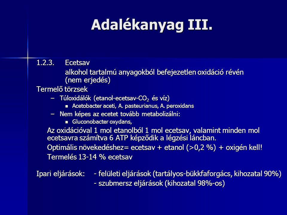 Adalékanyag III. 1.2.3. Ecetsav alkohol tartalmú anyagokból befejezetlen oxidáció révén (nem erjedés) Termelő törzsek –Túloxidálók (etanol-ecetsav-CO