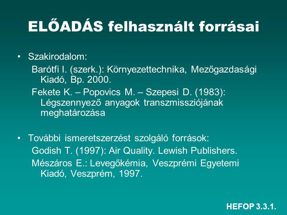 HEFOP 3.3.1. ELŐADÁS felhasznált forrásai Szakirodalom: Barótfi I. (szerk.): Környezettechnika, Mezőgazdasági Kiadó, Bp. 2000. Fekete K. – Popovics M.