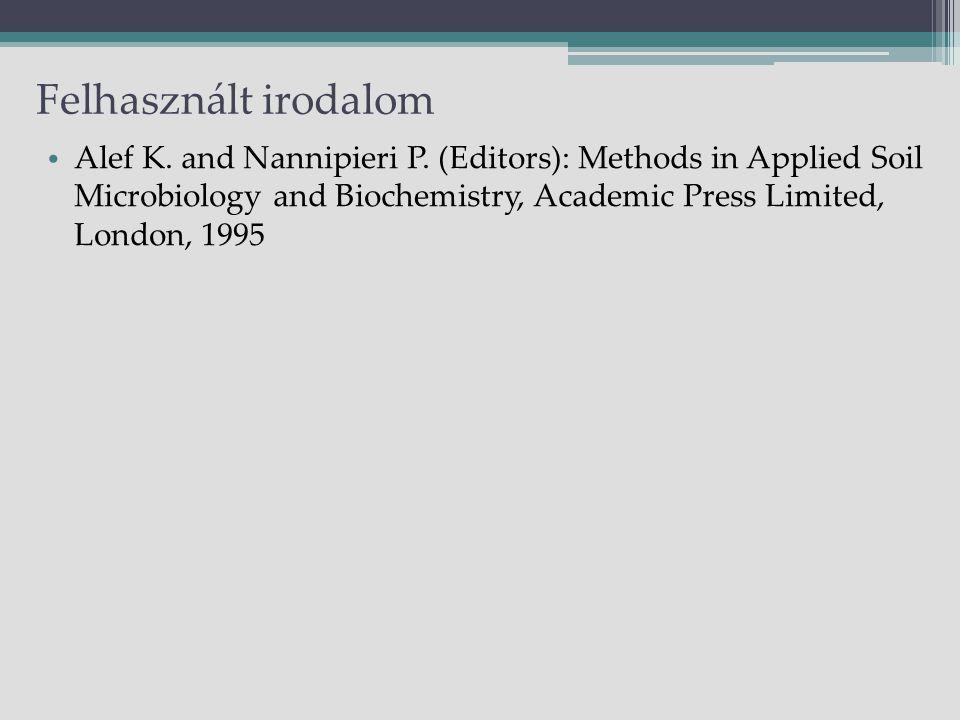 Felhasznált irodalom Alef K. and Nannipieri P.