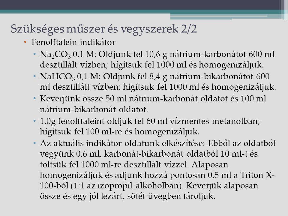 Szükséges műszer és vegyszerek 2/2 Fenolftalein indikátor Na 2 CO 3 0,1 M: Oldjunk fel 10,6 g nátrium-karbonátot 600 ml desztillált vízben; hígítsuk fel 1000 ml és homogenizáljuk.