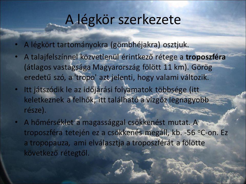 A légkör szerkezete A troposzféra fölötti réteget sztratoszférának nevezzük, ami kb.