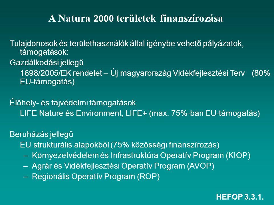HEFOP 3.3.1. A Natura 2000 területek finanszírozása Tulajdonosok és területhasználók által igénybe vehető pályázatok, támogatások: Gazdálkodási jelleg