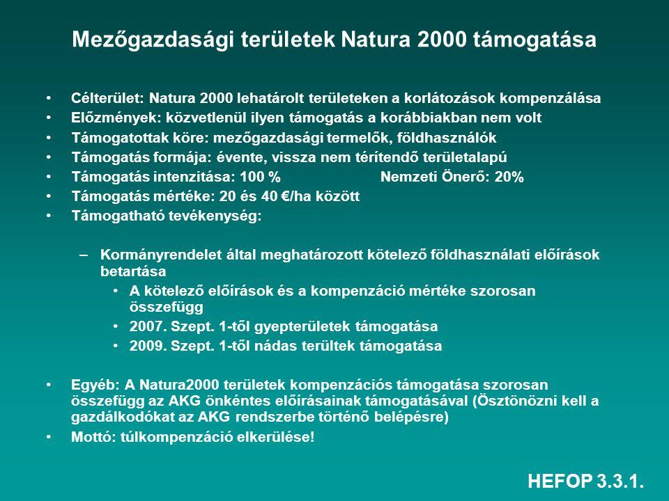 HEFOP 3.3.1. Mezőgazdasági területek Natura 2000 támogatása Célterület: Natura 2000 lehatárolt területeken a korlátozások kompenzálása Előzmények: köz