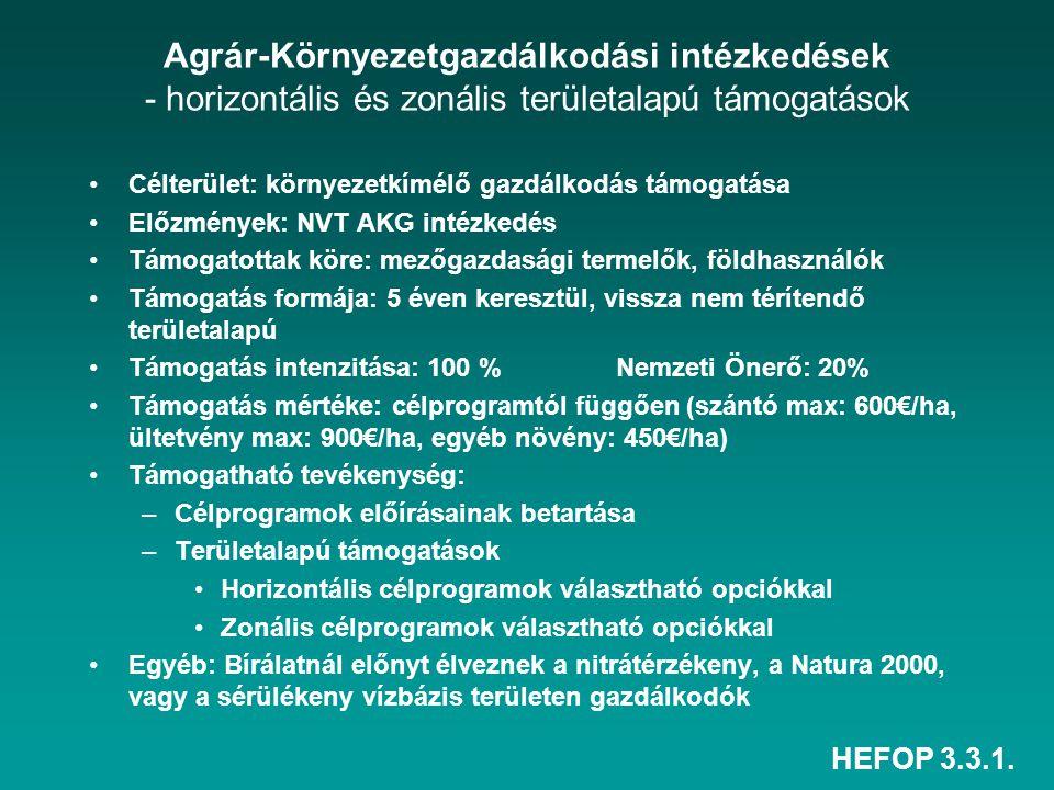 HEFOP 3.3.1. Agrár-Környezetgazdálkodási intézkedések - horizontális és zonális területalapú támogatások Célterület: környezetkímélő gazdálkodás támog