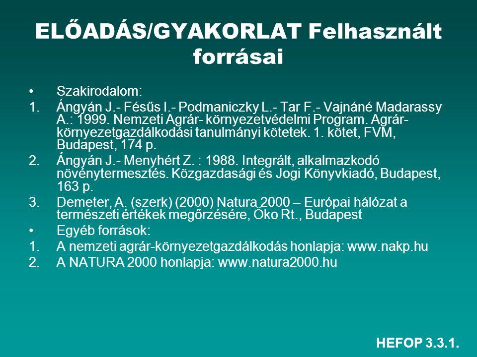 HEFOP 3.3.1. ELŐADÁS/GYAKORLAT Felhasznált forrásai Szakirodalom: 1.Ángyán J.- Fésűs I.- Podmaniczky L.- Tar F.- Vajnáné Madarassy A.: 1999. Nemzeti A