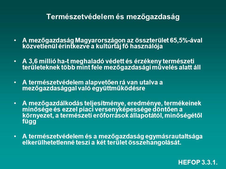 HEFOP 3.3.1. Természetvédelem és mezőgazdaság A mezőgazdaság Magyarországon az összterület 65,5%-ával közvetlenül érintkezve a kultúrtáj fő használója