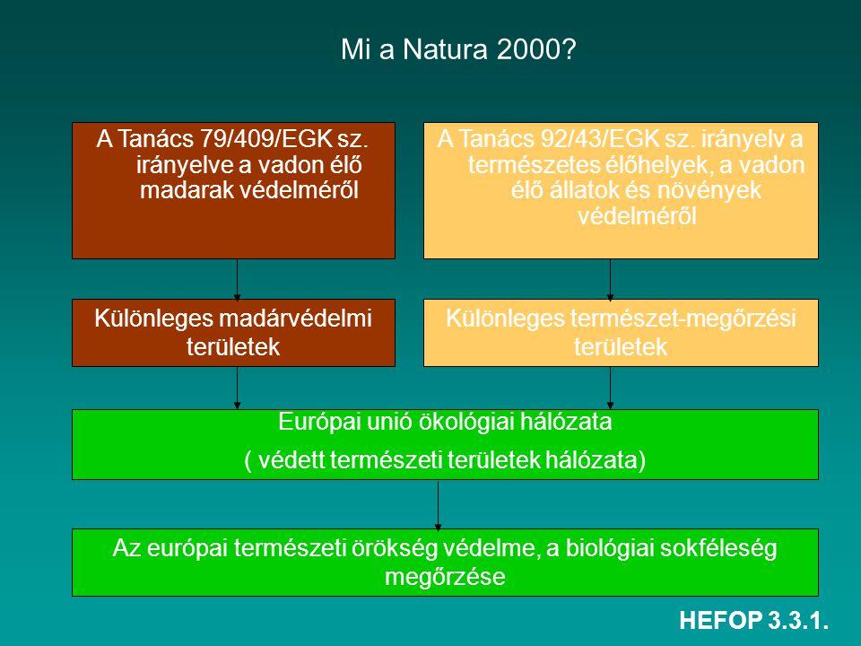 HEFOP 3.3.1. Mi a Natura 2000? A Tanács 79/409/EGK sz. irányelve a vadon élő madarak védelméről A Tanács 92/43/EGK sz. irányelv a természetes élőhelye