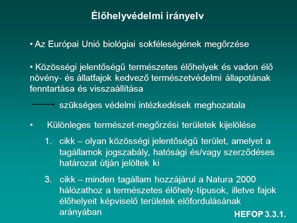 HEFOP 3.3.1. Élőhelyvédelmi irányelv Az Európai Unió biológiai sokféleségének megőrzése Közösségi jelentőségű természetes élőhelyek és vadon élő növén