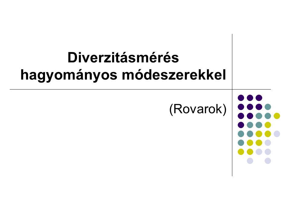 Fénycsapda Williams (1964) Kora tavasztól késő őszig Éjszakai fajok esetén használható Működtetés 100W-os izzóval 2 m magasan Gyűjtőtölcsérben Kloroform Üzemeltetés: napnyugtától napkeltéig kapcsoló órával Kezelője naplót vezet (időjárás, hőmérséklet) Elemzés:1.fajdiverzitási elemzés 2.idősorelemzések 3.fajhasonlósági elemzések