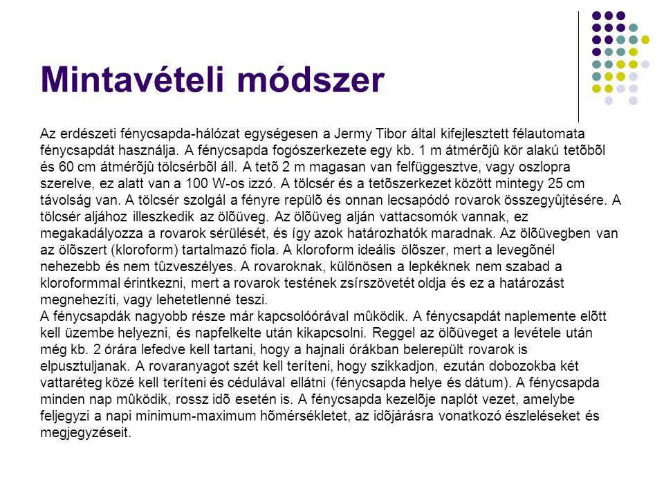 Mintavételi módszer Az erdészeti fénycsapda-hálózat egységesen a Jermy Tibor által kifejlesztett félautomata fénycsapdát használja. A fénycsapda fogós