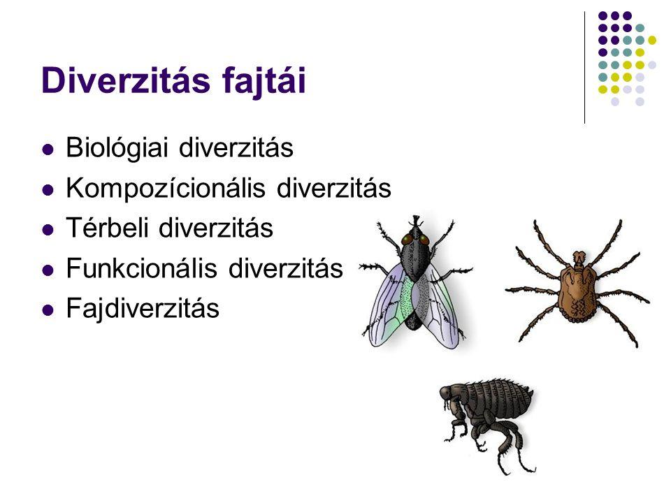 Biológiai diverzitás Biológiai diverzitás alatt nemcsak a fajok sokféleségét és mennyiségi viszonyait kell érteni, ide tartozik a fajon belüli genetikai összetétel, valamint – a fajok feletti szinteken – a társulások, életközösségek, tájak sokfélesége is.
