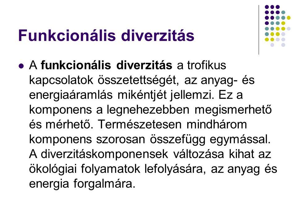Funkcionális diverzitás A funkcionális diverzitás a trofikus kapcsolatok összetettségét, az anyag- és energiaáramlás mikéntjét jellemzi. Ez a komponen