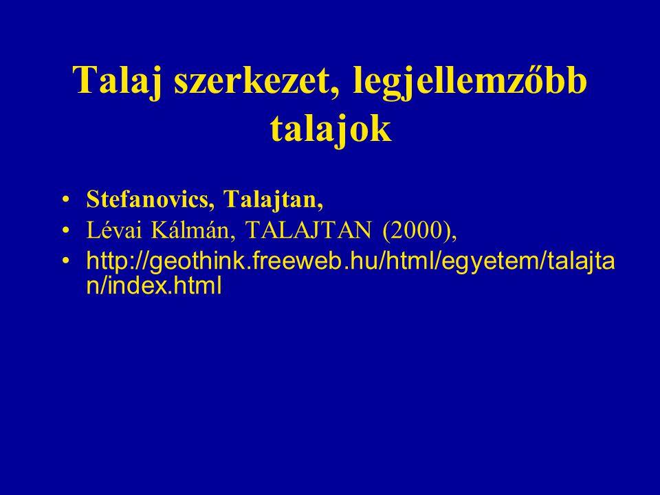 Talaj szerkezet, legjellemzőbb talajok Stefanovics, Talajtan, Lévai Kálmán, TALAJTAN (2000), http://geothink.freeweb.hu/html/egyetem/talajta n/index.h
