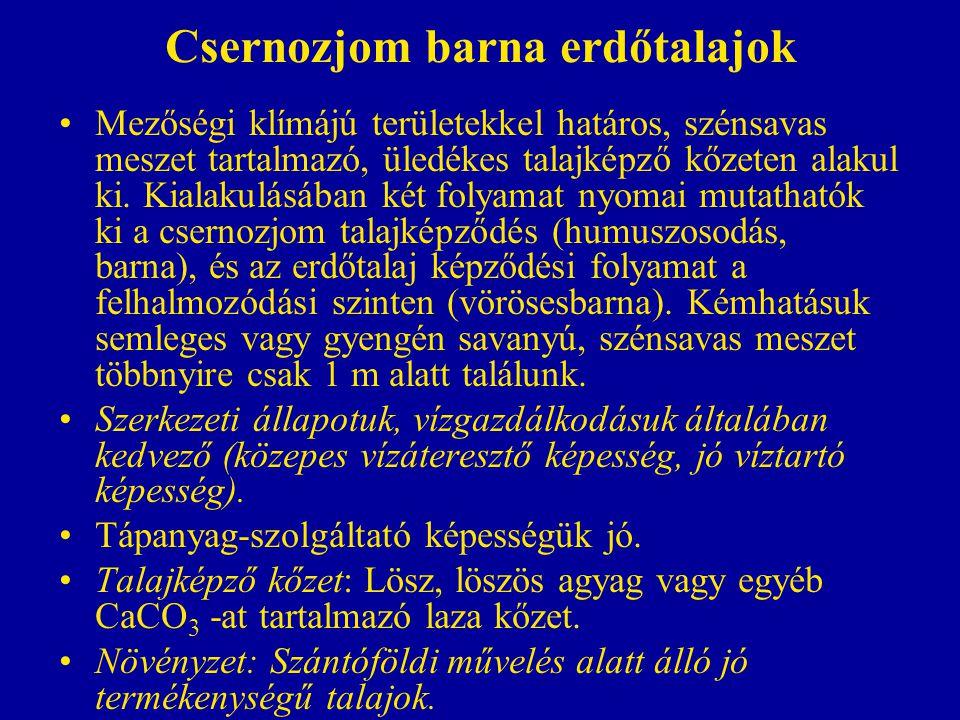 Csernozjom barna erdőtalajok Mezőségi klímájú területekkel határos, szénsavas meszet tartalmazó, üledékes talajképző kőzeten alakul ki. Kialakulásában