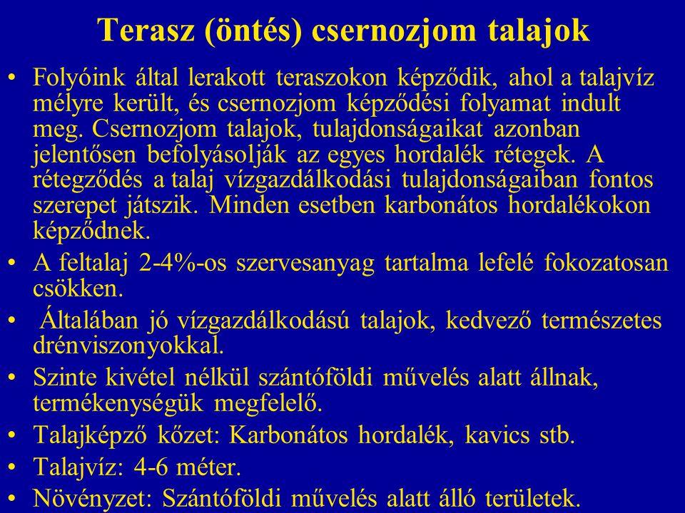 Terasz (öntés) csernozjom talajok Folyóink által lerakott teraszokon képződik, ahol a talajvíz mélyre került, és csernozjom képződési folyamat indult