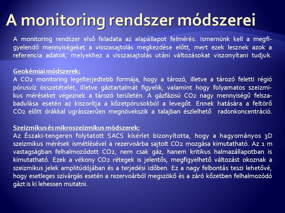 A monitoring rendszer első feladata az alapállapot felmérés.