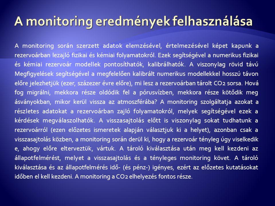 A monitoring során szerzett adatok elemzésével, értelmezésével képet kapunk a rezervoárban lezajló fizikai és kémiai folyamatokról.