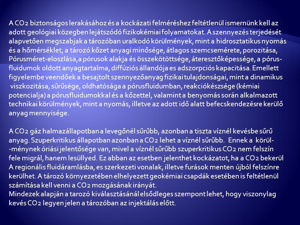 A CO2 biztonságos lerakásához és a kockázati felméréshez feltétlenül ismernünk kell az adott geológiai közegben lejátszódó fizikokémiai folyamatokat.