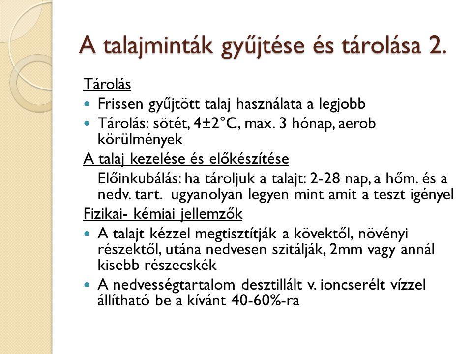 A talajminták gyűjtése és tárolása 2.