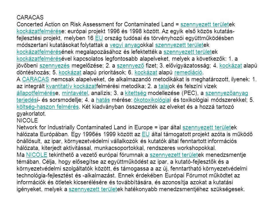 CARACAS Concerted Action on Risk Assessment for Contaminated Land = szennyezett területek kockázatfelmérése: európai projekt 1996 és 1998 között. Az e