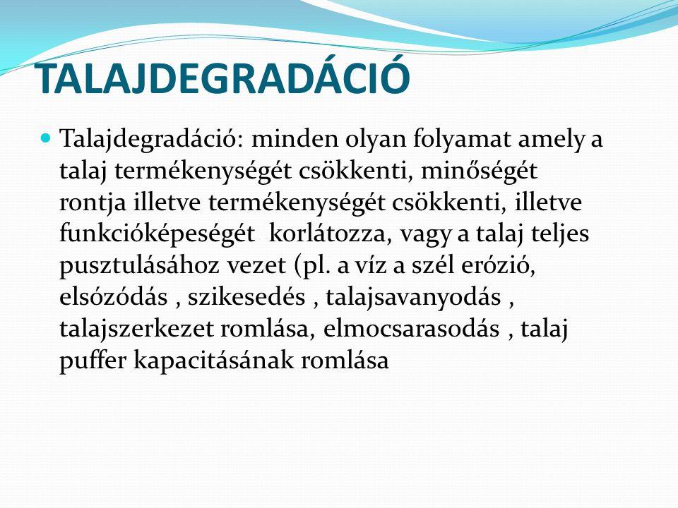 TALAJDEGRADÁCIÓ Talajdegradáció: minden olyan folyamat amely a talaj termékenységét csökkenti, minőségét rontja illetve termékenységét csökkenti, ille