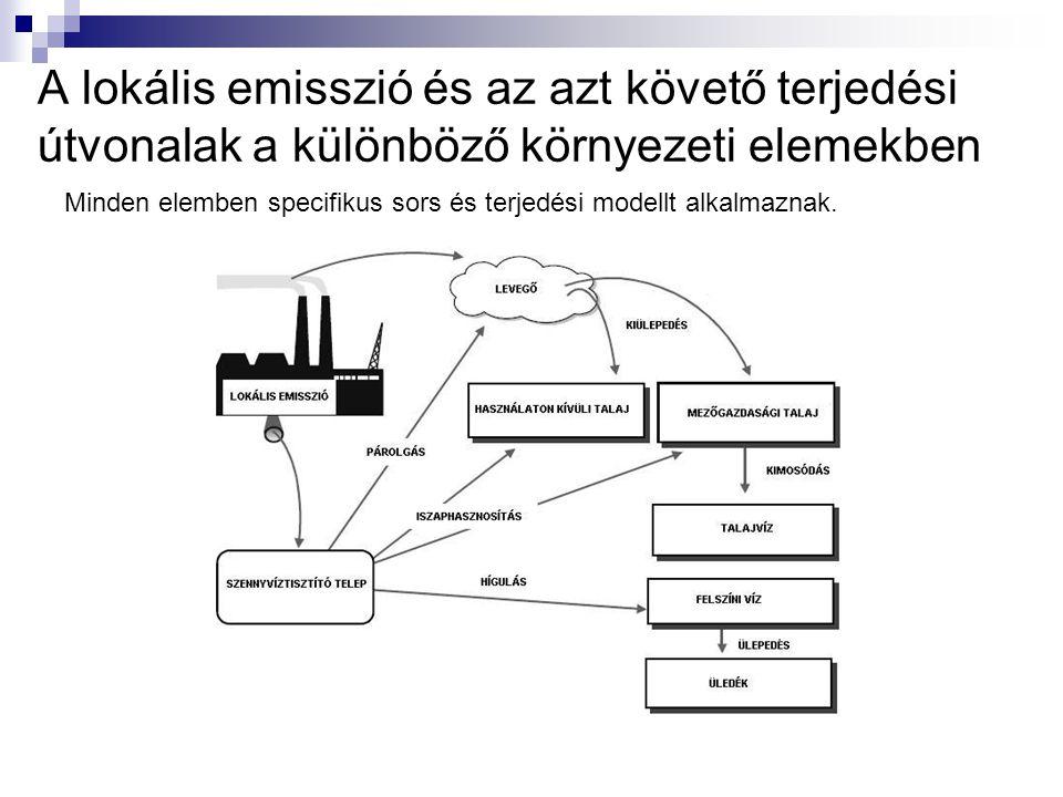 A lokális emisszió és az azt követő terjedési útvonalak a különböző környezeti elemekben Minden elemben specifikus sors és terjedési modellt alkalmaznak.