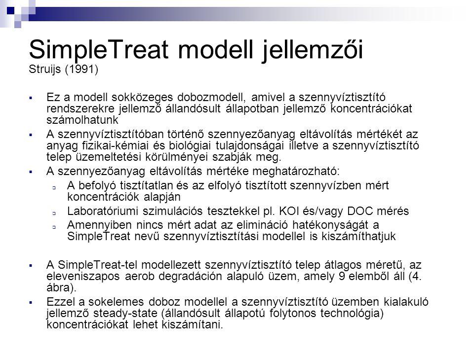 SimpleTreat modell jellemzői Struijs (1991)  Ez a modell sokközeges dobozmodell, amivel a szennyvíztisztító rendszerekre jellemző állandósult állapot