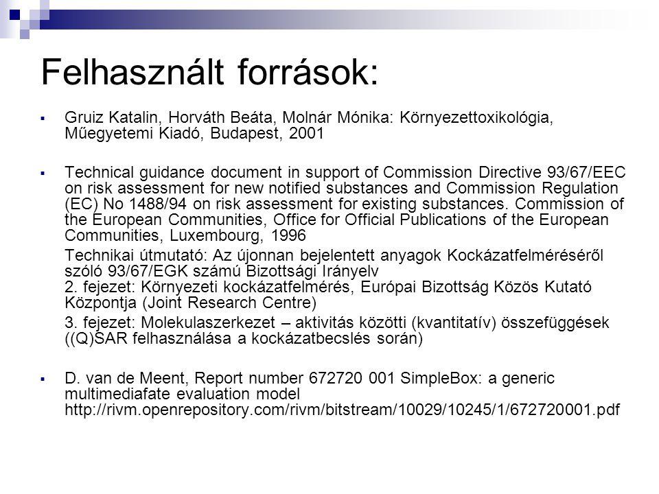 Felhasznált források:  Gruiz Katalin, Horváth Beáta, Molnár Mónika: Környezettoxikológia, Műegyetemi Kiadó, Budapest, 2001  Technical guidance docum