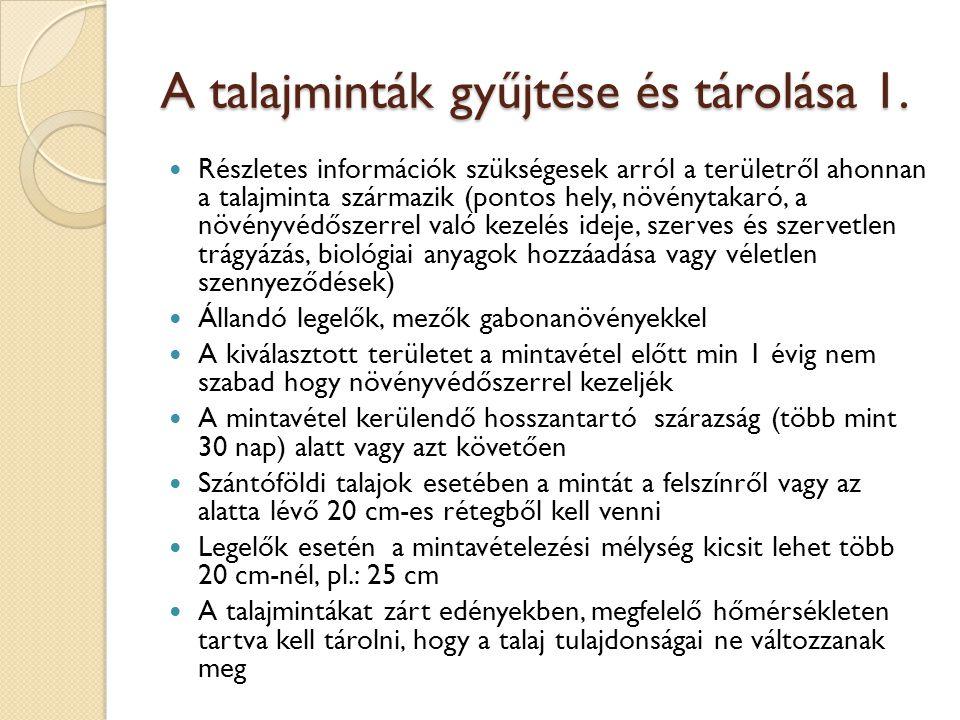 A talajminták gyűjtése és tárolása 1. Részletes információk szükségesek arról a területről ahonnan a talajminta származik (pontos hely, növénytakaró,