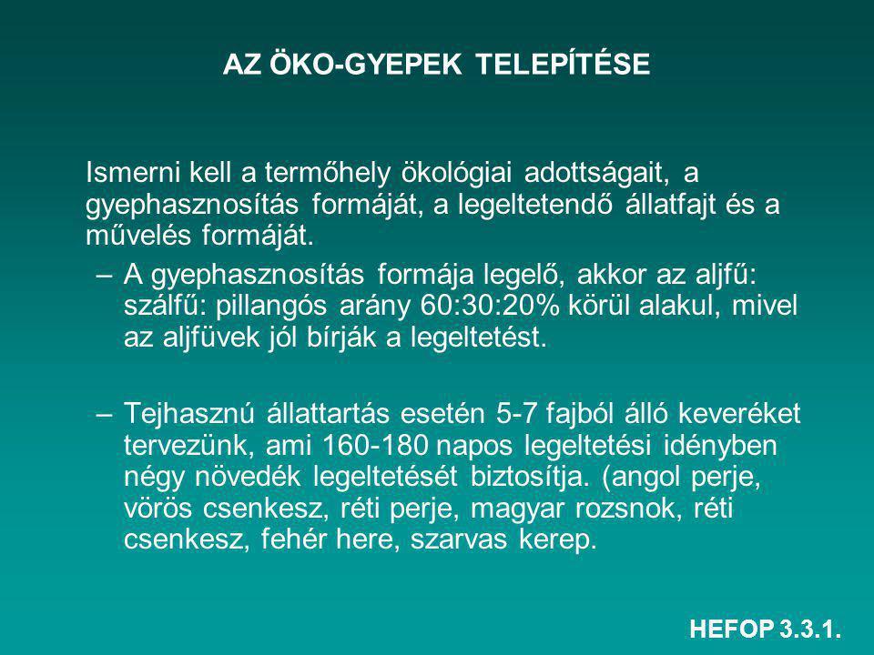 HEFOP 3.3.1. AZ ÖKO-GYEPEK TELEPÍTÉSE Ismerni kell a termőhely ökológiai adottságait, a gyephasznosítás formáját, a legeltetendő állatfajt és a művelé