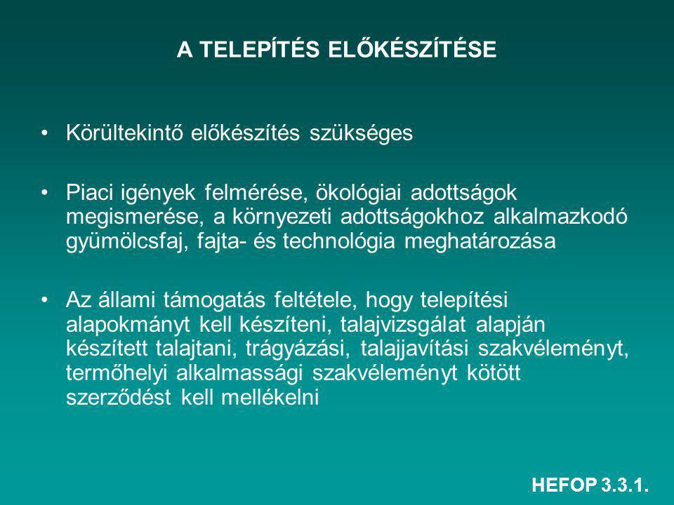 HEFOP 3.3.1. A TELEPÍTÉS ELŐKÉSZÍTÉSE Körültekintő előkészítés szükséges Piaci igények felmérése, ökológiai adottságok megismerése, a környezeti adott