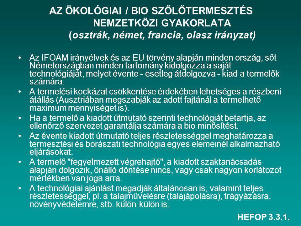 HEFOP 3.3.1. AZ ÖKOLÓGIAI / BIO SZŐLŐTERMESZTÉS NEMZETKÖZI GYAKORLATA (osztrák, német, francia, olasz irányzat) Az IFOAM irányélvek és az EU törvény a