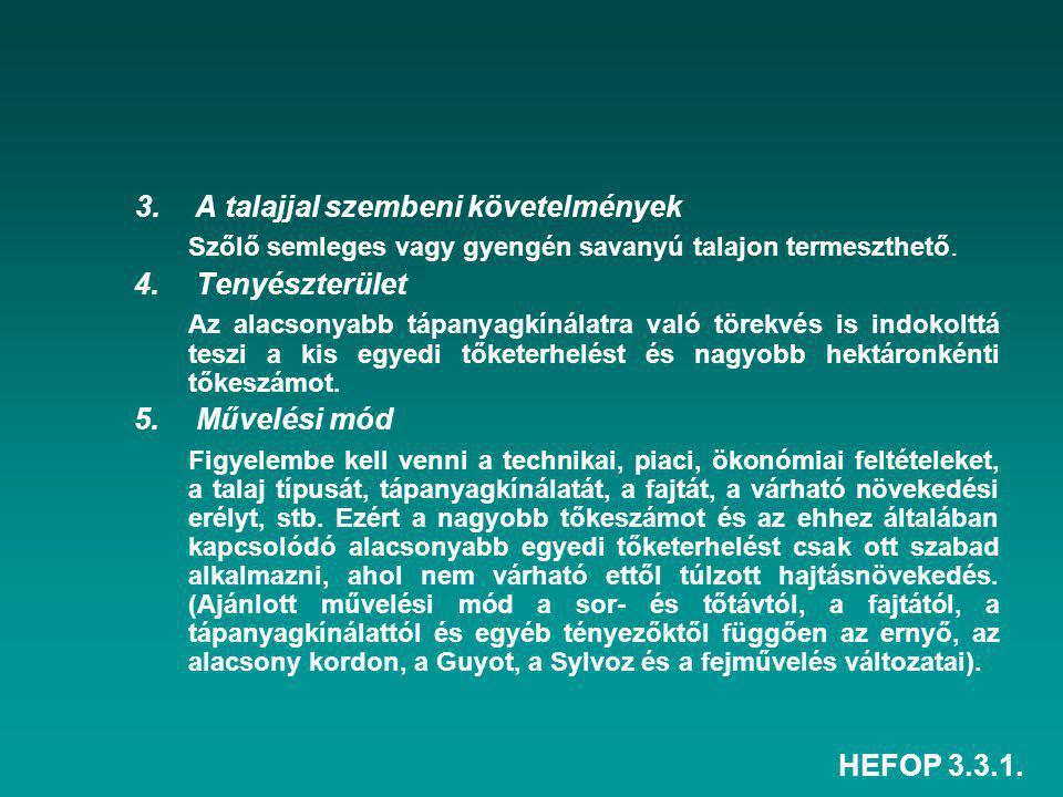 HEFOP 3.3.1. 3. A talajjal szembeni követelmények Szőlő semleges vagy gyengén savanyú talajon termeszthető. 4. Tenyészterület Az alacsonyabb tápanyagk