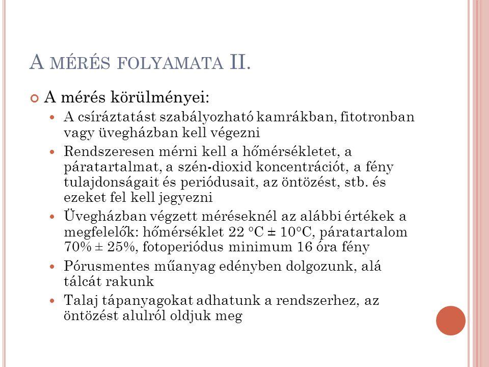 A MÉRÉS FOLYAMATA II. A mérés körülményei: A csíráztatást szabályozható kamrákban, fitotronban vagy üvegházban kell végezni Rendszeresen mérni kell a