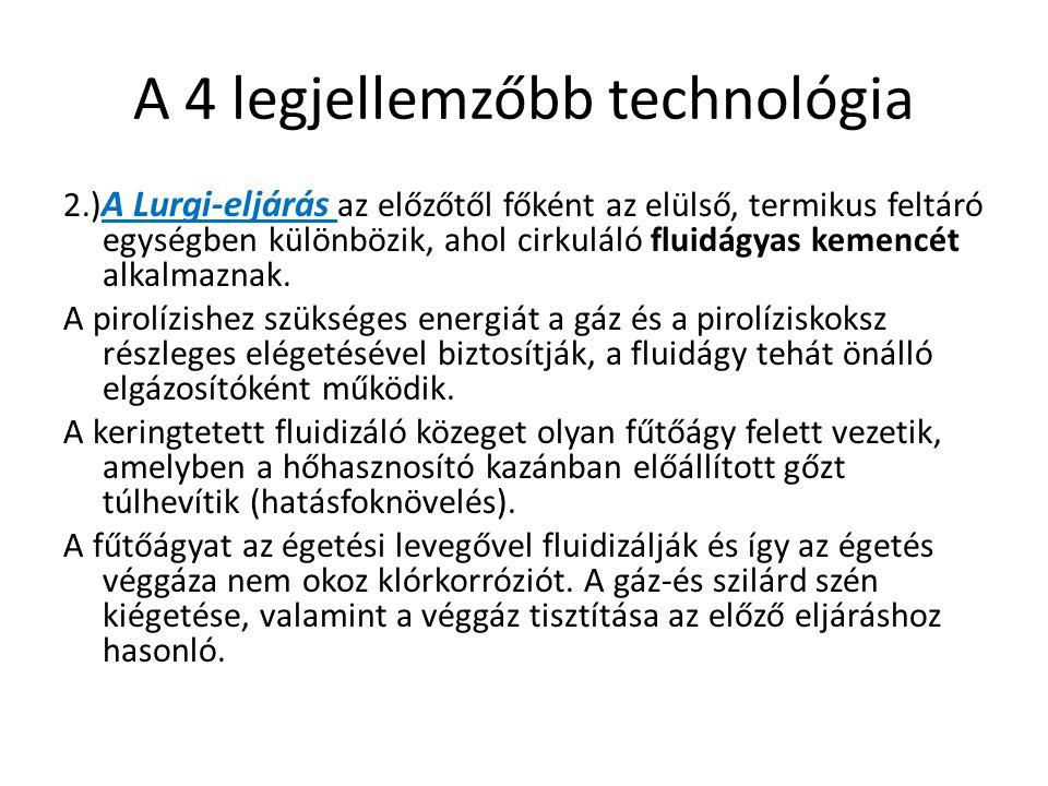 A 4 legjellemzőbb technológia 2.) A Lurgi-eljárás az előzőtől főként az elülső, termikus feltáró egységben különbözik, ahol cirkuláló fluidágyas kemen