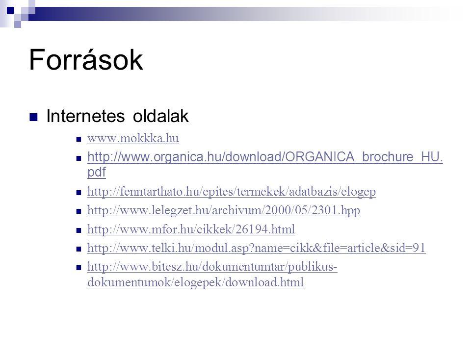 Források Internetes oldalak www.mokkka.hu http://www.organica.hu/download/ORGANICA_brochure_HU. pdf http://www.organica.hu/download/ORGANICA_brochure_