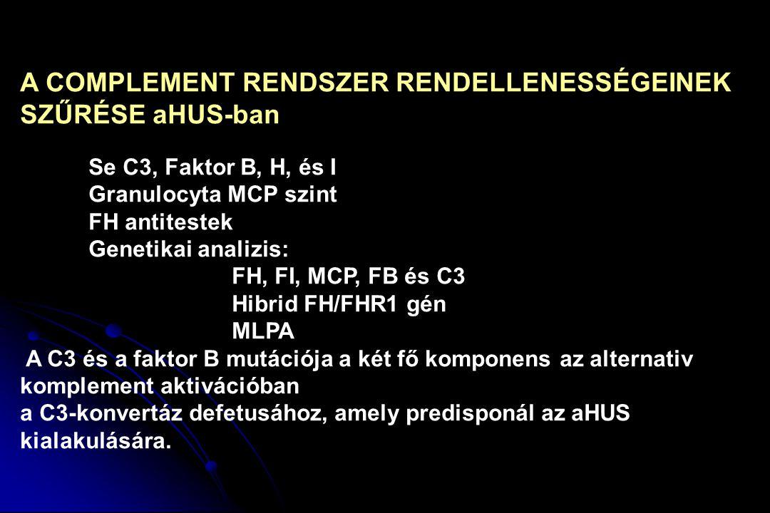 A COMPLEMENT RENDSZER RENDELLENESSÉGEINEK SZŰRÉSE aHUS-ban Se C3, Faktor B, H, és I Granulocyta MCP szint FH antitestek Genetikai analizis: FH, FI, MC