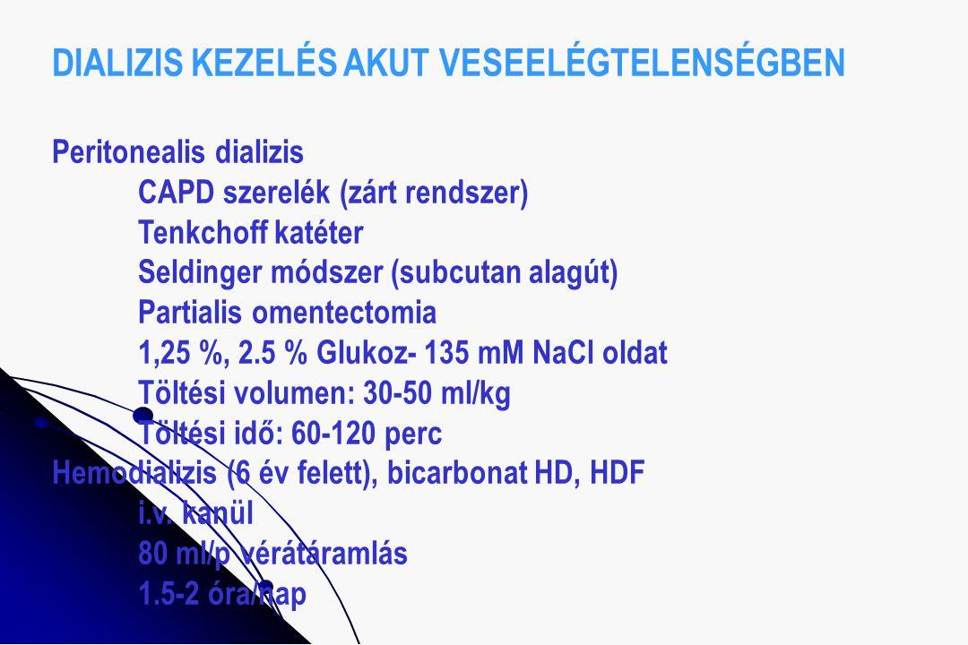 DIALIZIS KEZELÉS AKUT VESEELÉGTELENSÉGBEN Peritonealis dializis CAPD szerelék (zárt rendszer) Tenkchoff katéter Seldinger módszer (subcutan alagút) Pa