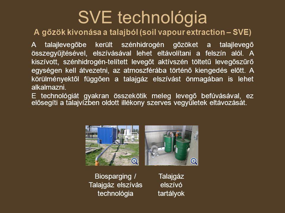SVE technológia A gőzök kivonása a talajból (soil vapour extraction – SVE) A talajlevegőbe került szénhidrogén gőzöket a talajlevegő összegyűjtésével,