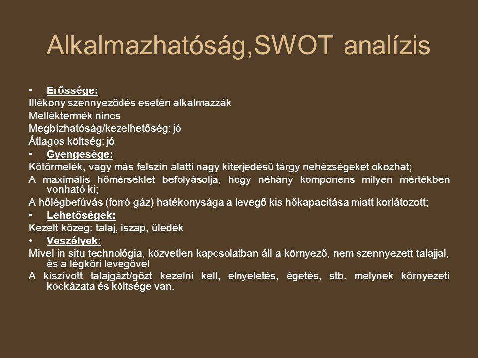 Alkalmazhatóság,SWOT analízis Erőssége: Illékony szennyeződés esetén alkalmazzák Melléktermék nincs Megbízhatóság/kezelhetőség: jó Átlagos költség: jó