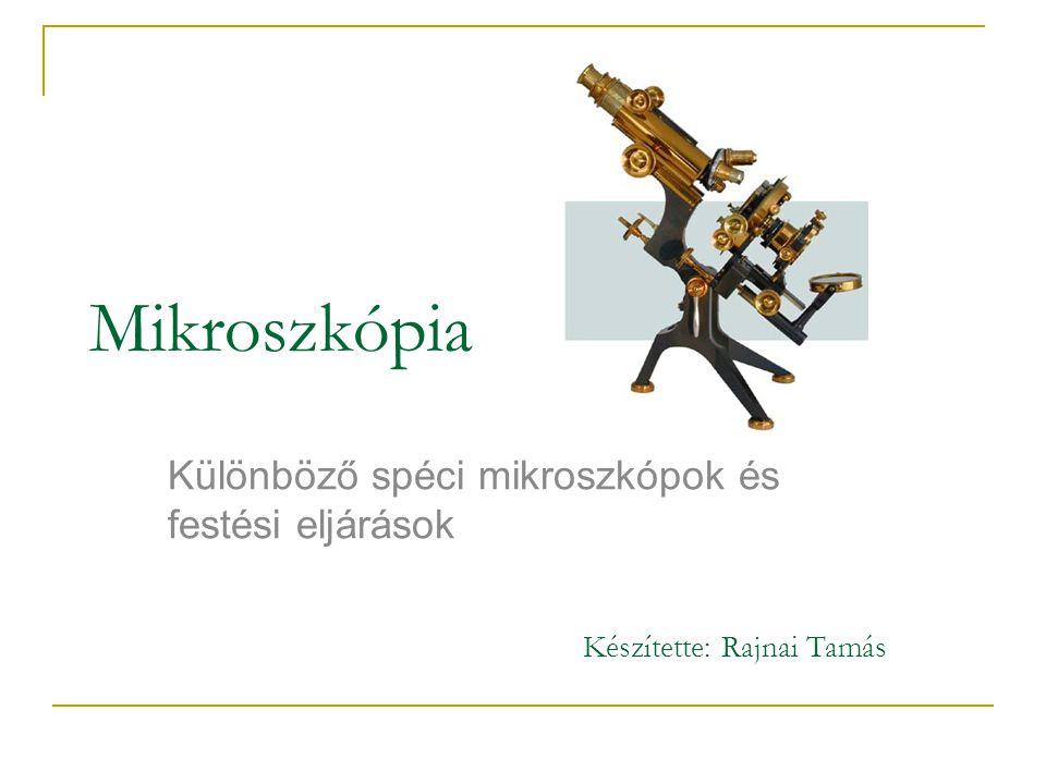 Mikroszkópia története Mikroszkóp: mikron = kicsi szkopein = nézni Mikroszkópia: szemmel láthatatlan tárgyak mikroszkópos vizsgálata Első mikroszkóp: ~ 1600: Hans Lippershey, Hans Janssen, Zacharias Janssen